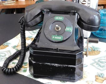 Vintage Antique Black Stromberg Carlson Hand Crank Telephone Phone, Bakelite Black Desk Phone, Rural Telephone, Farmers Telephone, Old Phone