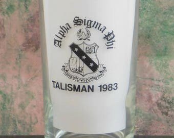 Vintage Alpha Sigma Phi Cocktail Glass, Talisman 1983, College Fraternity, Coat of Arms, Souvenir, Initiation Ritual, Barware Cocktail Glass