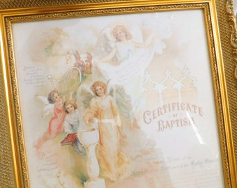 Vintage Certificate of Baptism, Religious, Framed Under Glass, Christian Art, Blank, Baptismal, Shabby Decor, Angel, Biblical, Nursery Decor