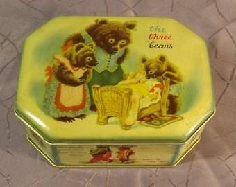 Très belle boite chocolat Cote d'Or. Old chocolate Box. Boucle d'Or et les 3 ours. Bears. Vintage. Retro. Belgique
