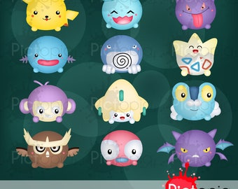 Cute Monster Icon Digital Clipart for Personal Use / INSTANT DOWNLOAD - Voucher code buy1get1