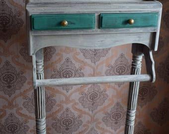 Vintage Restored  French Wooden Bathroom Stand Rack Towel Rack Bedroom Rack, Antique French Furniture Vintage French Furniture