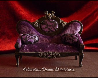Dollhouse miniature gothic sofa, miniature furniture in 1:12 scale, gothic miniature creepy couch, unique piece