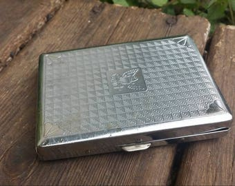 Silver Metal Marine wallet/cigarette compact/vintage wallet/wallets for men/wallets for marines/gifts for marines/vintage metal wallet