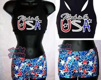 Made in the USA - Awesome Patriotic Wacki Set -  Custom Shorts and Sports Bra!