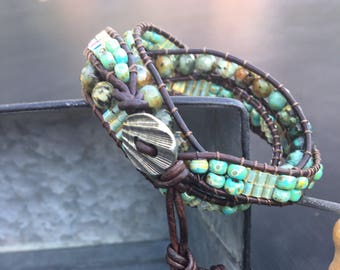 African Turquoise picasso seed bead Chan Luu style wrap, Seed Bead on Leather Wrap, Leather Wrap Bracelet, Boho style Wrap Bracelet