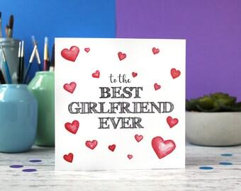 Best girlfriend ever, girlfriend card, girlfriend birthday, valentines card, anniversary card