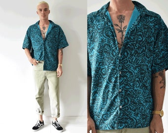 90s Abstract Vintage Button Up Short Sleeve Mens Shirt/ Large Collared Mens Shirt