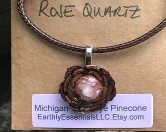 Michigan Third Eye Pinecone Necklace with Rose Quartz