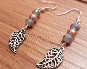 Deep sea green and golden ore leaf earrings, Sterling silver