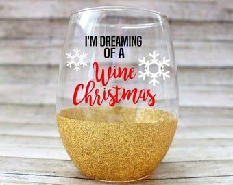 Christmas Wine Glass - Christmas Glass - Funny Wine Glass - Wine Christmas Wine Glass -  Christmas Party Glass - Glitter Wine Glass