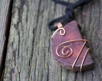 Handmade Reclaimed/Salvaged Wood Pendant & Necklace, copper wire wrap nature eucalyptus red gum eco friendly boho hippie statement OOAK