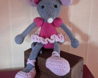 Toy mouse ballerina crocheted