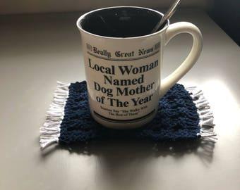 Hand knitted mug rug or coaster, NFL Dallas Cowboys inspired, Navy