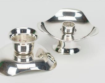 Silver reversable  Candle Holders