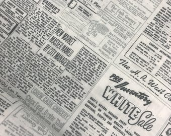 Newspaper Print Cotton Fabric in Graphite by Zen Chic for Moda, Newsprint, Vintage Paper, Black and White