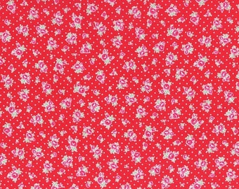 Sale Red Tiny Floral and Dots Cotton Fabric from the Flower Sugar Wind Spring 2017 Collection by Lecien Fabrics