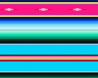 "End of Bolt, Blue Fiesta Stripe Fabric from the Fiesta Collection by Elizabeth's Studio, Serape, Sombrero 30""x44"""
