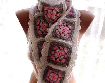 30 % DISCOUNT crochet lariat scarf, crochet granny square afghan scarf, scarves for her