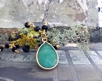 Aventurine necklace,Gold necklace, aventurine Pendant,edelstein,rosary chain,gold black necklace