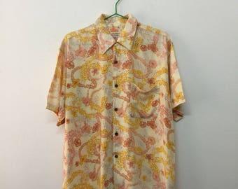 Living Island Hawaiian Shirt/Living Island Rayon Hawaiian Shirt/Floral/Size L