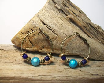 Creole ethnic bronze earrings