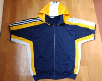 ADIDAS jersey, vintage t-shirt of 90s hip-hop clothing, 1990s hip hop hoodie, gangsta rap, blue old school basketball shirt size M Medium D5