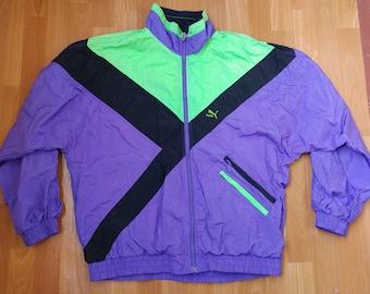 PUMA jacket, vintage track jacket of 90s hip-hop clothing, 1990s hip hop, neon blue old school tracksuit top, OG, gangsta rap, size L Large