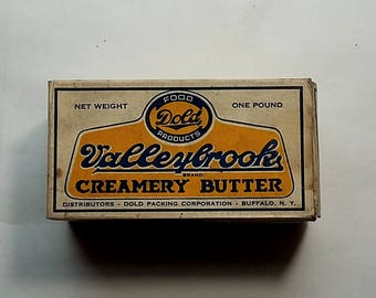 Vintage Box Valleybrook Creamery Butter. Buffalo, New York, Dairy, Milk