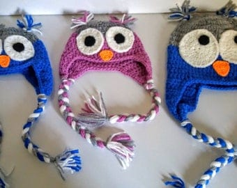 Peruvian owl hat from birth to 3 years old