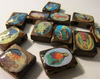 Brown Wooden Tiles with Religious Motifs, 15mm, Set of 12 Assorted