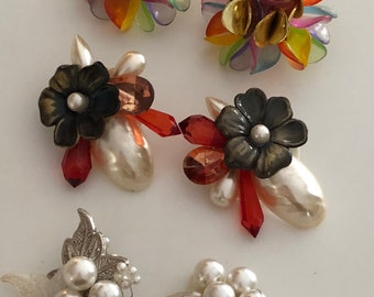 Lot of Three Sets of Vintage Clip-on Statement Earrings