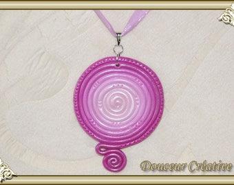 Choker necklace pink spiral gradient 112001