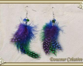 Blue Green 104020 feather earrings