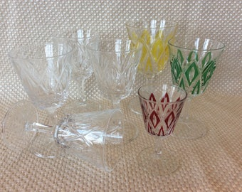 Vintage Harlequin wine Retro stemware with diamond pattern clear and coloured