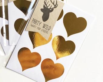 Heart Stickers Pk24 - Metallic Gold