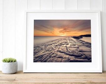Sunrise beach decor, seascape art decor, ocean coastal art, coastal wall art, seascape sunrise, coastal sunrise, large beach art seascape