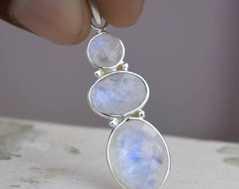 Blue Fire Rainbow Moonstone Pendant, Faceted Moonstone Solid 92.5 Sterling Silver Pendant, Statement Boho Yellow Gold Pendant, Gift For Her