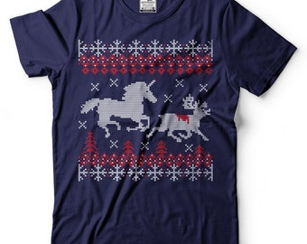 Unicorn Attack Funny Ugly Christmas Sweater T-shirt. Funny Christmas Gift