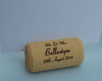Personalized Cork Place Card Holders Model 15 White