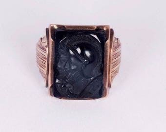 10K Yellow Gold Mens Cameo Estate Ring, Size 10.25