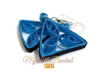 Quilling Triangle Mystic Blue and black earrings