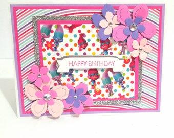 Trolls Birthday Card, Handmade Greeting Card, Card for Girl, Custom Card