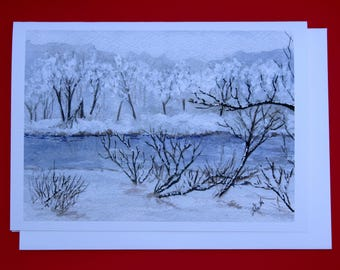 Christmas Holiday Card - Watercolor Winter Landscape Greeting - Winter Solstice Card - Winter Birthday Card
