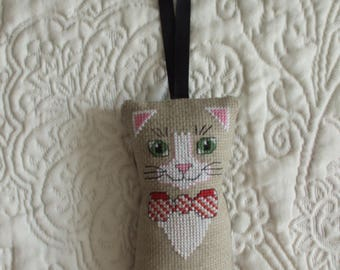 Hanging cat shaped pillow embroidered cross stitch
