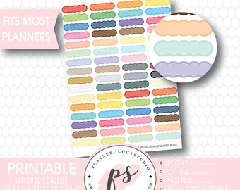 Multi Color Stitched Scallop Quarter Boxes Printable Planner Stickers | JPG/PDF/Silhouette Compatible Cut File