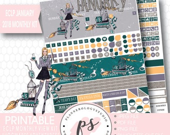 Hogwarts Adventures January 2018 Monthly View Kit Printable Planner Stickers (for Erin Condren ECLP) |JPG/PDF/Silhouette Cut File
