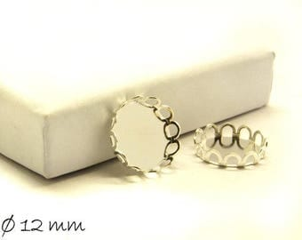 Frames for Cabochons, 12 mm, silver