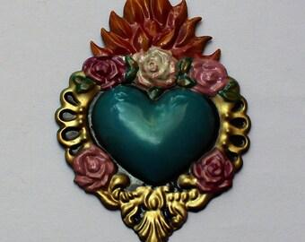 mexican magnet,mexican heart, metalwork heart,heart brass