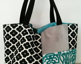 Large tote bag reversible patchwork